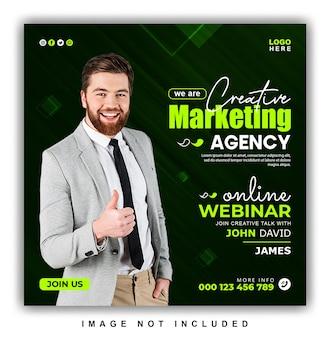 Webinaire en ligne sur le marketing numérique et modèle de conception de publication sur les médias sociaux d'entreprise