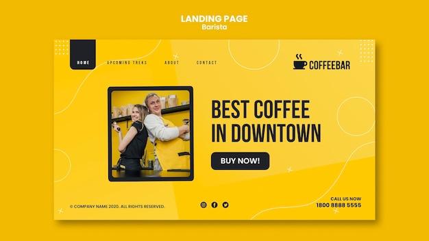 Webtemplate de page de destination de barista