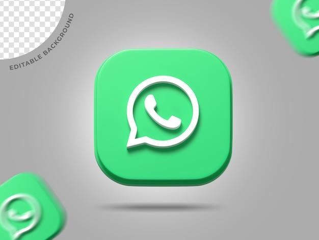 Whatsapp 3d logo social media 3d render background icône modifiable