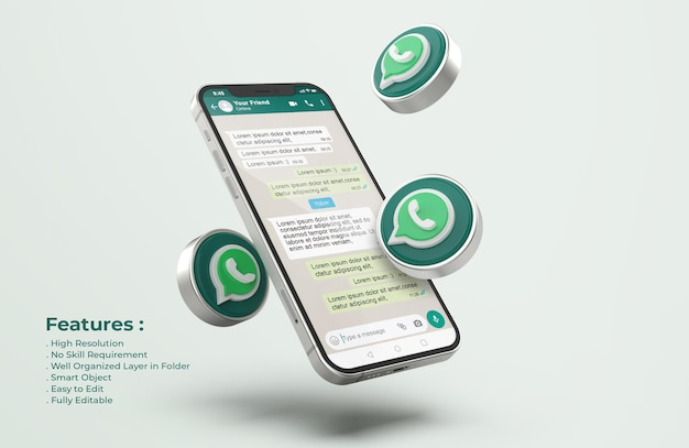 Whatsapp sur la maquette de téléphone mobile en argent