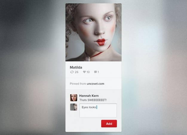 Widget pinterest minimal avec avatar
