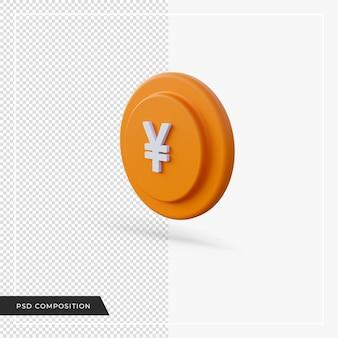 Yen icône jaune dans le rendu 3d