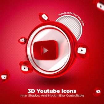 Youtube 3d icône médias sociaux sur fond transparent