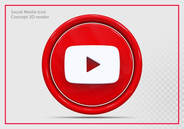 Youtube icône rendu 3d moderne