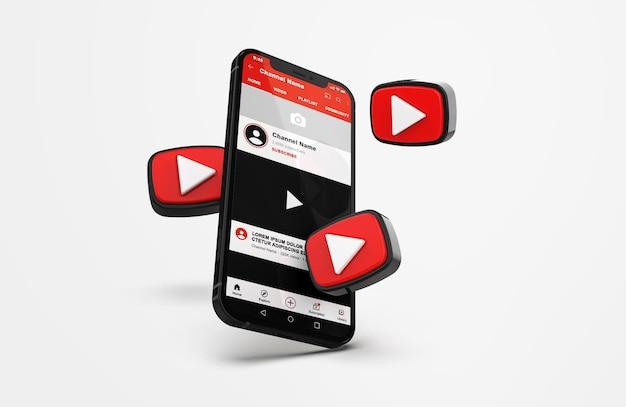 Youtube sur une maquette de téléphone portable avec des icônes 3d