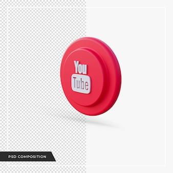 Youtube rouge rouge en rendu 3d