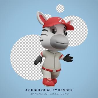 Zèbre mignon jouant au baseball illustration de personnage animal 3d