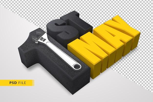 1º de maio feliz dia do trabalho com ferramenta de mão de chave 3d render