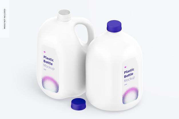1 galão de maquete de garrafas de plástico, vista isométrica