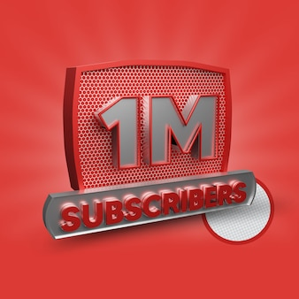 1 milhão de assinantes 3d