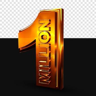 1 milhão de renderização 3d dourada isolada