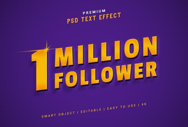 1 milhão seguidores psd de efeito de texto gerador premium