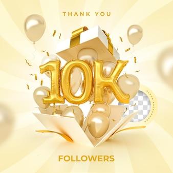 10.000 seguidores com balões de números renderização em 3d