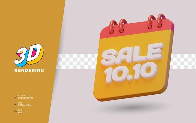 10.10 promoção de venda de desconto de dia de compras objeto de renderização em 3d
