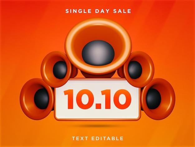 10.10 venda de um dia 3d design texto editável psd