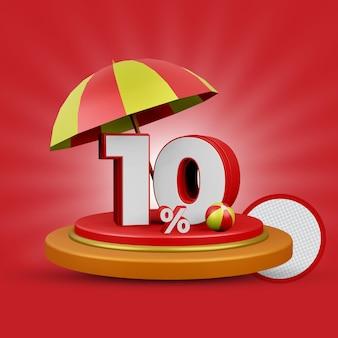 10% de desconto no verão - oferta de renderização 3d isolada