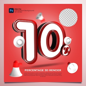 10 por cento em 3d renderizado na cor vermelha com elementos
