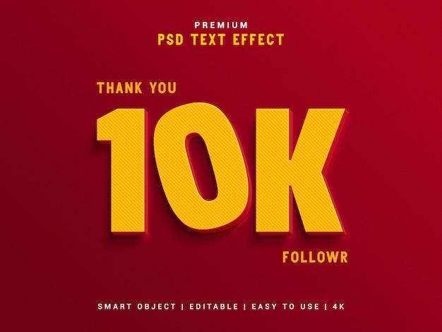 10k seguidor de efeito de texto gerador.