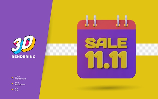 11.11 dia de compras com desconto promoção de venda em 3d objeto de renderização