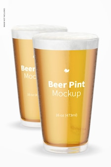 16 onças de cerveja pints maquete