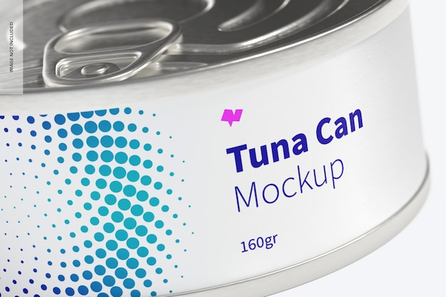 160gr tuna can mockup, close up
