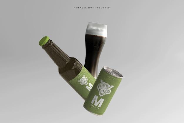 180ml mini refrigerante ou lata de cerveja e garrafa com maquetes de gotas de água Psd Premium