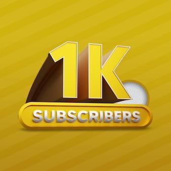 1k assinantes do youtube golden 3d render