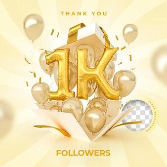 1k seguidores com balões de números renderização em 3d