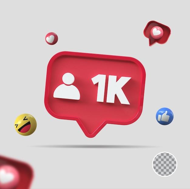 1k seguidores com ícone 3d render