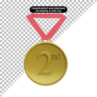 2ª medalhas de objeto simples ilustração 3d