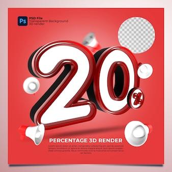 20 por cento renderização em 3d cor vermelha com elementos