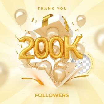 200 mil seguidores com balões de números renderização em 3d