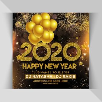 2020 feliz ano novo celebração festa panfleto quadrado