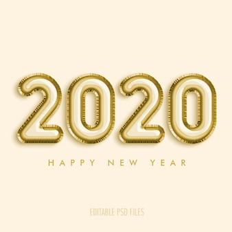 2020 feliz ano novo com balões dourados