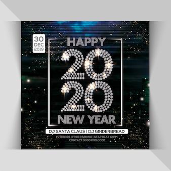 2020 feliz ano novo noite festa flyer