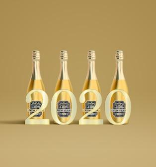 2020 no conjunto de champanhes