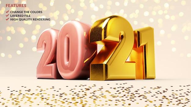 2021 números dourados em um fundo branco
