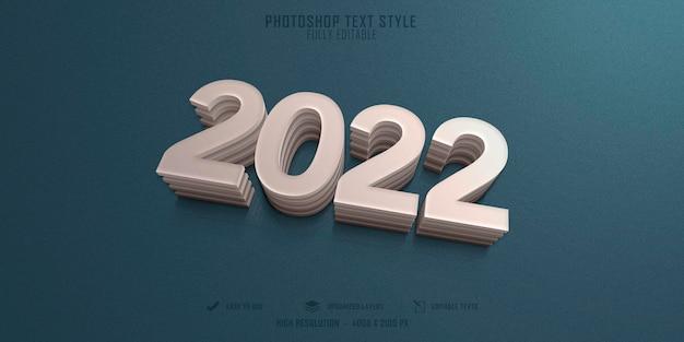 2022 design de modelo de efeito de estilo de texto 3d de ano novo