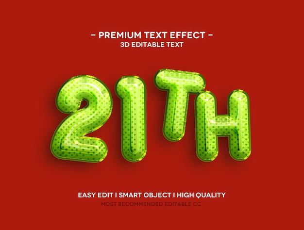 21º modelo de efeito de texto 3d