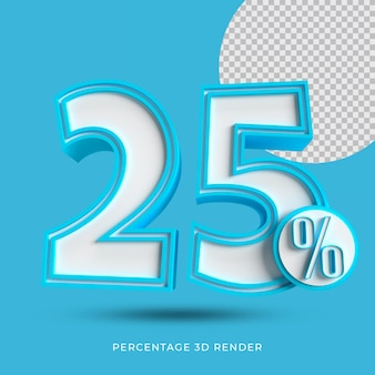 25 por cento 3d render cor azul