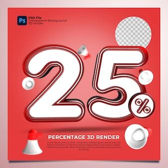 25 por cento 3d renderizado com cor vermelha com elementos