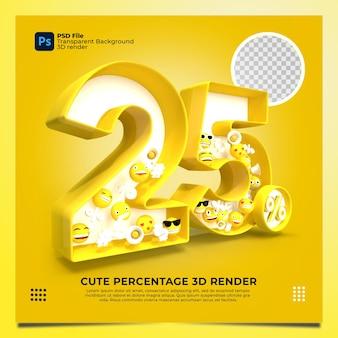 25 por cento 3d renderizado em amarelo com elementos