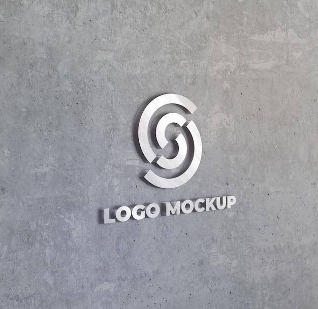 3 d prata logotipo sobre o efeito de parede