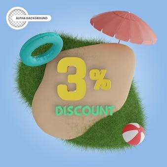 3% de desconto no verão isolado 3d render