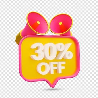 30% de desconto na renderização da liquidação promocional de verão isolada