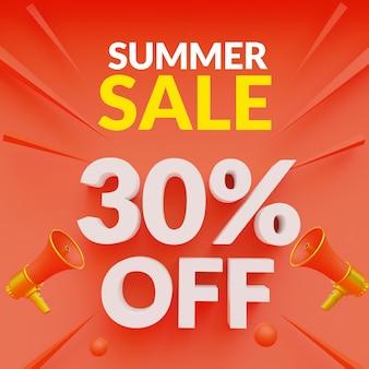 30% de desconto no modelo de banner de promoção de verão