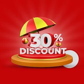 30% de desconto no verão - oferta de renderização em 3d isolada