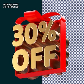 30 por cento de desconto no embrulho de texto com fita vermelha, renderização em 3d conceito isolado para promoção