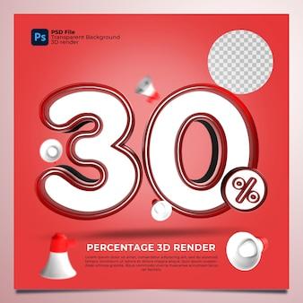 30 porcentagem 3d render cor vermelha com elementos