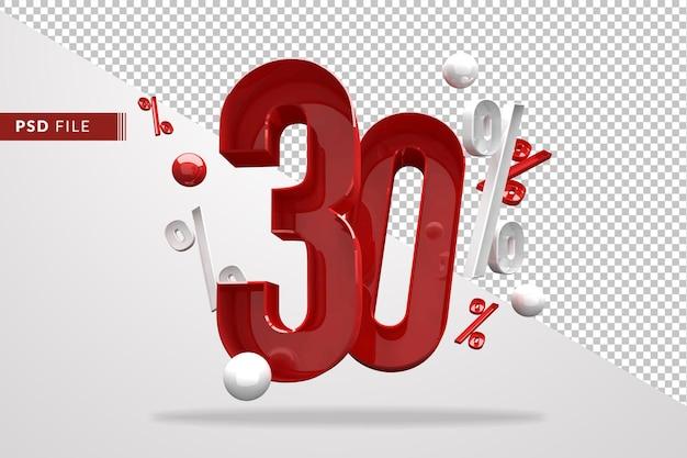 30% sinal de porcentagem 3d, número vermelho, modelo de arquivo psd